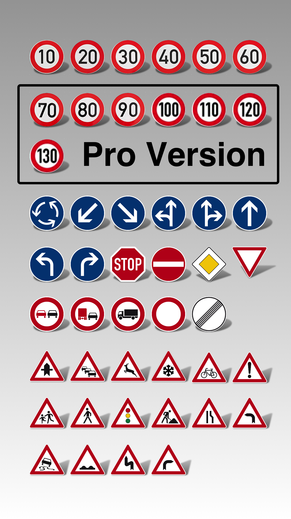 Supported traffic signs